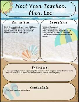Meet the Teacher Template EDITABLE Beach Theme
