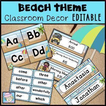 Schedule Cards EDITABLE Beach Theme Classroom Decor BUNDLE