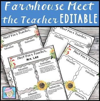 Back to School Night Forms Meet the Teacher Template EDITABLE Farmhouse Flowers