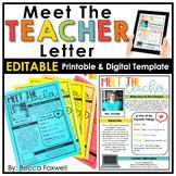 Meet the Teacher Letter - EDITABLE | Printable | Digital |