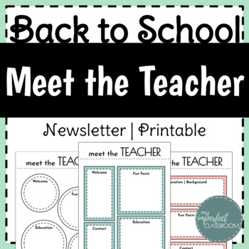 Meet the Teacher Template Editable | Back to School Newsletter