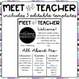Meet the Teacher Template Editable Black and White