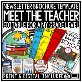 Meet the Teacher Template Editable Letter, Welcome Back to School Night Brochure