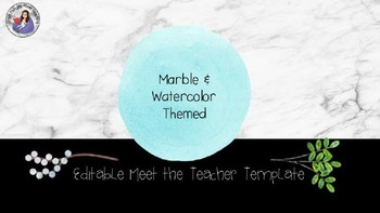 Meet the Teacher Template Editable: Marble and Watercolor