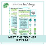 Meet the Teacher Template   Editable   Monstera Leaf Design