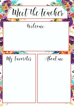 meet the teacher template floral by miss kiz teachers pay teachers
