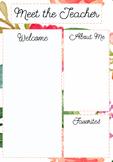 Meet the Teacher Template Floral Pattern