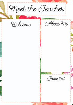 Meet the Teacher Template Floral Pattern