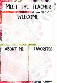 Meet the Teacher Template Floral Pink