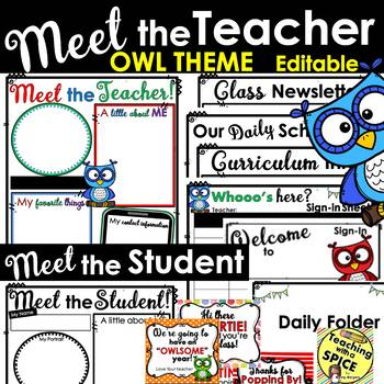 Meet the Teacher Template OWL THEME Back to School
