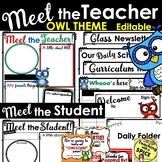 Meet the Teacher Template OWL THEME Back to School