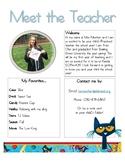 Meet the Teacher Template-Pete the Cat