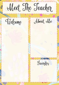Meet the Teacher Template Yellow Floral Pattern