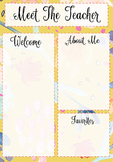 Meet the Teacher Template Yellow Floral Pattern