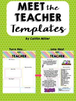 meet the teacher templates by caitlin miller teachers pay teachers