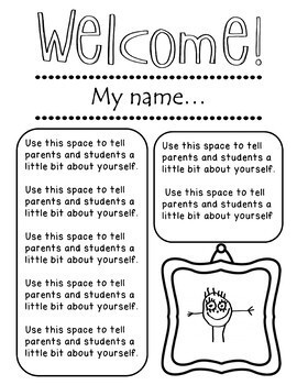 Meet the Teacher Templates - 7 total Black & White and Color