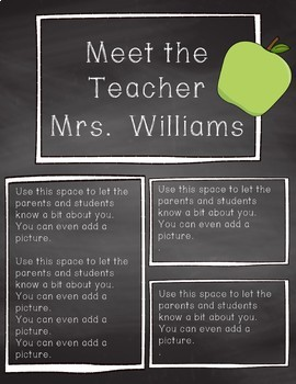 Meet the Teacher Templates - Black and White Chalkboard