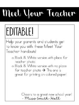 Meet the Teacher Templates - EDITABLE