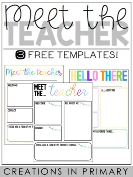 meet the teacher templates editable by creations in primary tpt