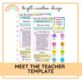Meet the Teacher Template   Editable   Rainbow Design