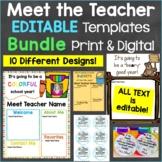Meet the Teacher Templates Editable Print & Digital Bundle 10 Different Designs
