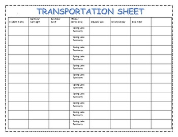 Meet the Teacher Transportation Sheet