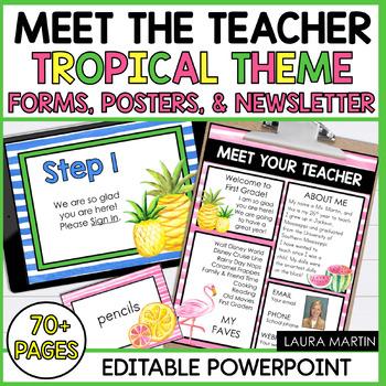 Meet the Teacher Open House EDITABLE Templates Watercolor Tropical Theme