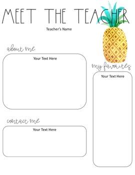 Meet the Teacher Tropical Themed - Editable