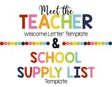 Meet the Teacher Welcome Letter & Supply List Template