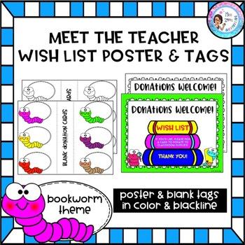 Meet the Teacher Wish List Poster & Tags