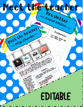 Meet the Teacher and Newsletter Template, Colorful and Pictures, All Subjects