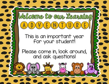 Jungle Themed Meet the Teacher and Open House EDITABLE PowerPoint