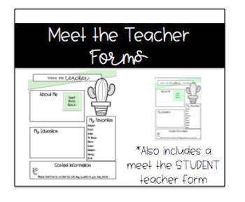 Meet the Teacher (and Student Teacher) Form: Cactus Theme