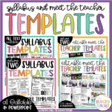 Meet the Teacher Editable and Syllabus Templates Editable Bundle