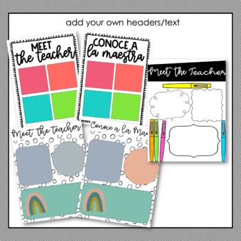 Meet the Teacher templates ~ English and Spanish ~Growing Editable Bundle