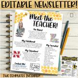 Meet the Teachers Newsletter EDITABLE- Bee - Black and Yellow Themed