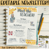 Meet the Teachers Newsletter EDITABLE- Bee - Black and Yellow Themed