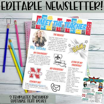 Meet the Teachers Newsletter EDITABLE- Superhero - Red, Yellow, and Blue Themed