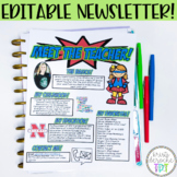 Meet the Teachers Newsletter EDITABLE- Superhero - Red, Ye