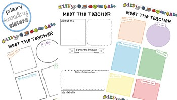 Meet the teacher - 3 editable versions