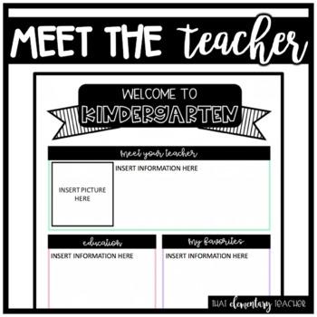 Meet the Teacher Kindergarten - IN COLOR + EDITABLE