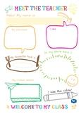 Meet the teacher and student editable templates