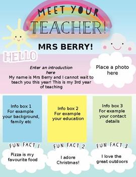 Meet the teacher editable newsletter or printout