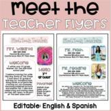 Meet the teacher flyer: English & Spanish | Editable