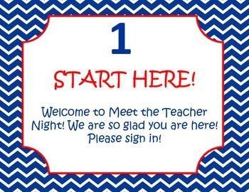 Meet the teacher night red, white, and navy blue nautical