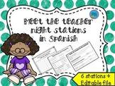 Meet the teacher night stations in SPANISH - Open House **Editable**