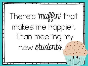 Meet the teacher/open house muffin note