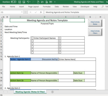 Meeting Agenda Template With Notes And Filters Macro Enabled Excel