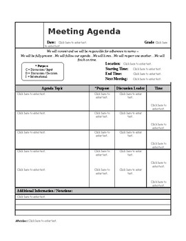 Meeting Agenda and Minutes Form