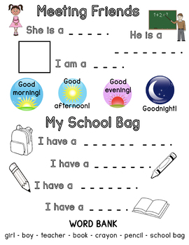 Meeting Friends & My School Bag Worksheet by Teacher Summer's Shop